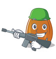 army almond nut character cartoon vector image