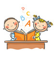 children with a book vector image