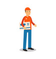 delivery service worker standing and holding big vector image