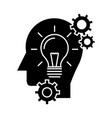 head with lamp idea generation icon vector image
