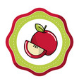 Sticker red apple fruit icon stock vector image
