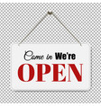 open sign with transparent background vector image vector image