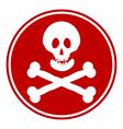 Skull and bones danger sign button vector image vector image