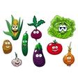 Fresh tasty cartoon vegetables characters vector image
