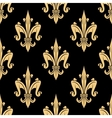 Golden fleur-de-lis seamless pattern over black vector image