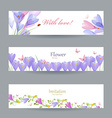 Fashion collection invitation cards with crocus vector image