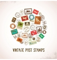 Vintage background with rubber stamps vector image