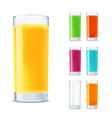 set of glasses with juice isolated on white vector image