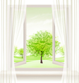 Background with an open window and green trees vector image vector image
