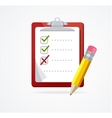 checklist on a red Board Flat Design vector image vector image