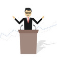 cartoon businessman talking on podium vector image