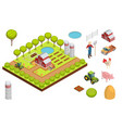 farm isometric composition vector image