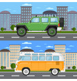 off road car and retro bus in urban landscape vector image