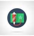 Red fireworks rocket round flat color icon vector image