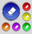 Eraser rubber icon sign Round symbol on bright vector image