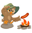 picnic owl scout frying sausage on fire vector image