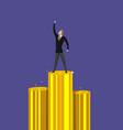successful businessman standing on pile of money vector image vector image
