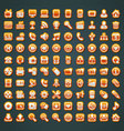 100 orange icons vector image