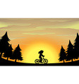 Silhouette girl riding bike in the park vector image vector image