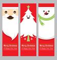 Santa Claus Tree Snowman Banner vector image vector image