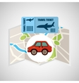 Airline ticket map travel red car vector image