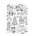 black and white winter postcard in cartoon style vector image