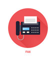 black fax phone with paper page flat style icon vector image