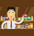 modern flat of a male pharmacist at the counter vector image