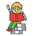 smiling kid sitting on pile of books reading vector image