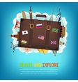 Travel composition with suitcase and famous world vector image