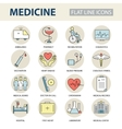 Set modern thin line web icons on medicine and vector image