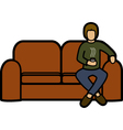 Man on a sofa vector image vector image