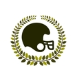 arch of leaves with American football helmet vector image