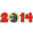2014 Year Red Cartoon Numbers vector image vector image