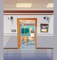 empty school corridor with open door to class room vector image