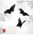 butterflies hand drawn with ink on background with vector image