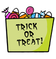 Green Trick Or Treat Bucket Of Candy vector image