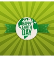 Happy Earth Day Banner with Text on green Ribbon vector image