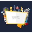 Background with game icons in flat design style vector image