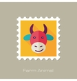 Cow flat stamp Animal head vector image