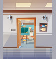 empty school corridor with open door to class room vector image