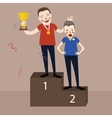 winner get trophy first and second place stage vector image