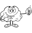 brain with a mobile phone vector image vector image