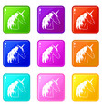 unicorn set 9 vector image