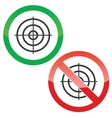 Aim permission signs set vector image