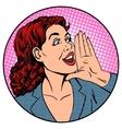 Woman businesswoman calling advertises agitates vector image