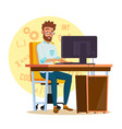 programmer man stylized young developer vector image