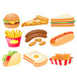 set of different types of fastfood vector image