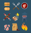 set of flat barbeque icons for web camping vector image