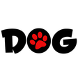 Dog Text With Circle Red Paw Print vector image